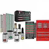 "Steellabels - Combo Deal - Magnetic Toolbox Labels plus our best ""Master"" Set of Socket Labels (green series) for Metric, Torx & SAE tools, fits all Craftsman, Snap On, Mac Tools and Tool Chest"