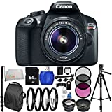 Canon EOS 1300D/Rebel T6 DSLR Camera with EF-S 18-55mm f/3.5-5.6 IS II Lens 64GB Bundle 28PC Accessory Kit. Includes 64GB Memory Card + 0.43x Wide Angle Lens + 2.2x Telephoto Lens + 3PC Filter Kit (UV-CPL-FLD) + MORE