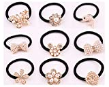Lovef 9 Pcs Beautiful Full Pearl with Crystal Rhinstone Flower Bow Fish Butterfly Design for Baby Kids Girl Women Hair Accessories Elastic Tie Ponytail Holders Princess Baby Hair Rope Rubber Bands