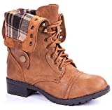 Women Military Combat Foldable Cuff Faux Leather Plaid/Quilted Back Zipper Lace Up Boots (9 M US, Chestnut)