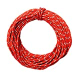 Outdoor Reflective Nylon Cord Camping Tent Rope Windproof Tent Awning Cord Guy Rope Line for Outdoor Recreation, Woven for High Strength, 50 Feet (Red)