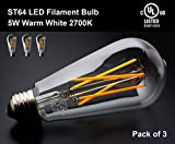 YUURTA ST64 Retro Vintage Edison LED Filament Light Bulbs 5W (50W Incandescent Equivalent Replacement) 2700K Warm (Soft) White 500 - 550 Lumens 120V Medium Base E26 Omnidirectional UL Listed Energy Saving (2700K, 3)