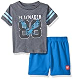 BON BEBE Baby Boys' 2 Pc Crew Neck Tee and Mesh Short Set,  Playmaker Grey