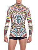 Coofandy Men's Tattoo multi-coloured tribal inspired print long sleeve shirt