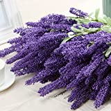Moonguiding 12 Heads Artificial Flocked Lavender Bouquet in Purple Flowers Home Wedding Garden Decor