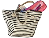 Canvas Beach Bag with Blue Stripes, Zipper top and Liner. - Spinnaker Collection
