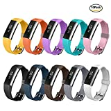Fitbit Alta HR and Alta Bands, Greeninsync Watch Buckle Design Replacement Bands Accessory Adjustable Wristband for Fitbit Alta Smart Watch Strap w/ Ultrathin Fastener-Smooth(10pack)