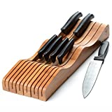 In-Drawer 100% Bamboo Knife Block, Knife Storage Drawer Organizer, Kitchen Knife Block Holds 10-15 knives. By: Bambusi
