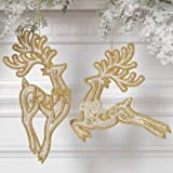 RAZ Leaping Reindeer Ornaments, Set of 2