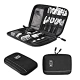 BAGSMART Small Travel Cable Organizer Universal Electronic Accessories Case Bag for Cables, Chargers, USB, Batteries, Earphones,Ipods, Black
