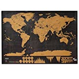 Scratch World Map, Scratch Map Travel Map Scratch Wall Decor World Map Education Crafts Social Studies Materials Office Supplies Black with Golden Coating World Interactive Travel Poster Prints Large 32.28 x 23.62 Inches Bright Colors Deluxe Edition, Trav