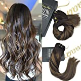 Sunny Clip in Hair Extensions Remy Human Hair 22inch 9pcs 140g Full Head Highlight Chestnut Brown mixed Dark Brown Balayage Dip-Dye Color Clip in Hair Extension