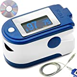 Fingertip Pulse Oximeter with Data Storage and Analysis Software by LotFancy - SpO2 Device for Blood Oxygen Saturation Level Meter with Lanyard