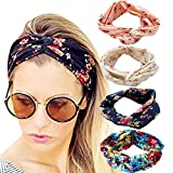 DRESHOW 4 Pack 1950's Vintage Flower Headbands for Women Twist Elastic Turban Headband Head Wraps Cute Hair Band Accessories
