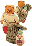 "Goldilocks and One Bear - 2 pc Set Masha And Bear - Russian Wooden Fairytale Character Figurines - Twiggen Basket - 5"" (13 cm) Tall"
