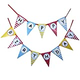 Bobee Happy Birthday Party Supplies & Decorations, Bunting Flag Banner, 2 Piece