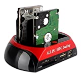 "All In One HDD Docking, Tumao 2.5""/3.5"" IDE SATA HDD Docking Dock Station + One Touch Backup + Card Reader Hub"