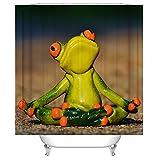 Animal Shower Curtain Thinking Of Frog Lovely Pet Art Print Decor  Waterproof Anti Mildew Fabric Polyester